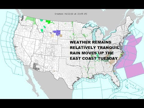 Rain Moving Up The East Coast, Most of the US Weather Tranquil - YouTube