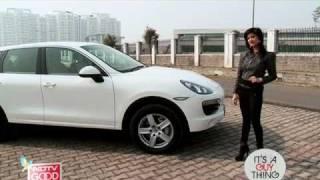 Test driving a Porsche Cayenne
