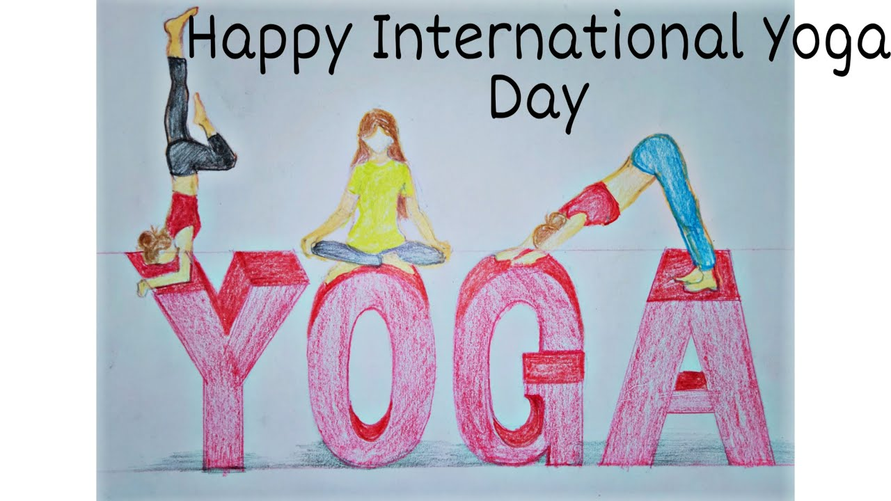 Yoga Day Pencil Colour Drawing Happy International Yoga Day Drawing Youtube