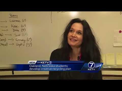 Oakland, Nebraska students develop creative recycling bin
