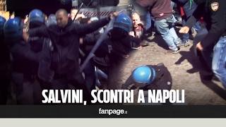 Salvini a Napoli, scontri manifestanti-polizia in via Chiatamone
