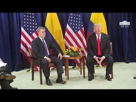 President Trump Participates in a Bilateral Meeting with the President of the Republic of Colombia