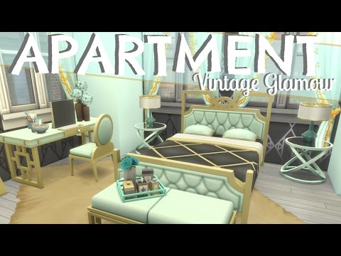The Sims 4: VINTAGE GLAMOUR APARTMENT | MINT & GOLD (SPEED BUILD) NO CC |