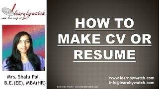 How to make CV / Resume (Hindi / Urdu)