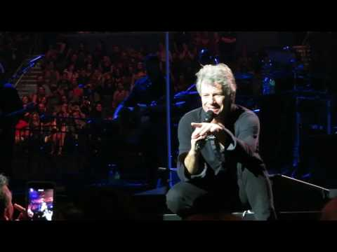 Bon Jovi Live in Tampa Florida Feb 14, 2017 kissing a woman in the audience