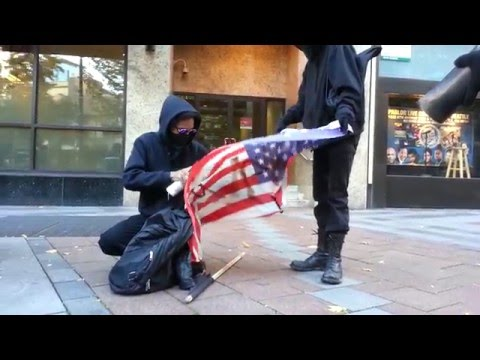 Anarchists Burning the American Flag
