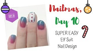 SUPER EASY Elf Suit Nail Design | Nailmas, Day 10 // threesixtynails