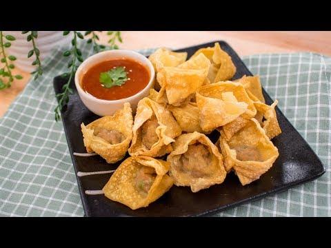 Fried Wontons Recipe สูตรเกี๊ยวทอด | Thai Recipes