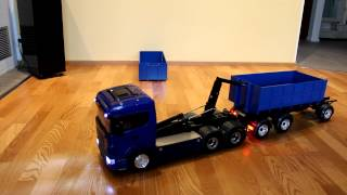 Tamiya Scania with Leimbach roll-off kipper and trailer