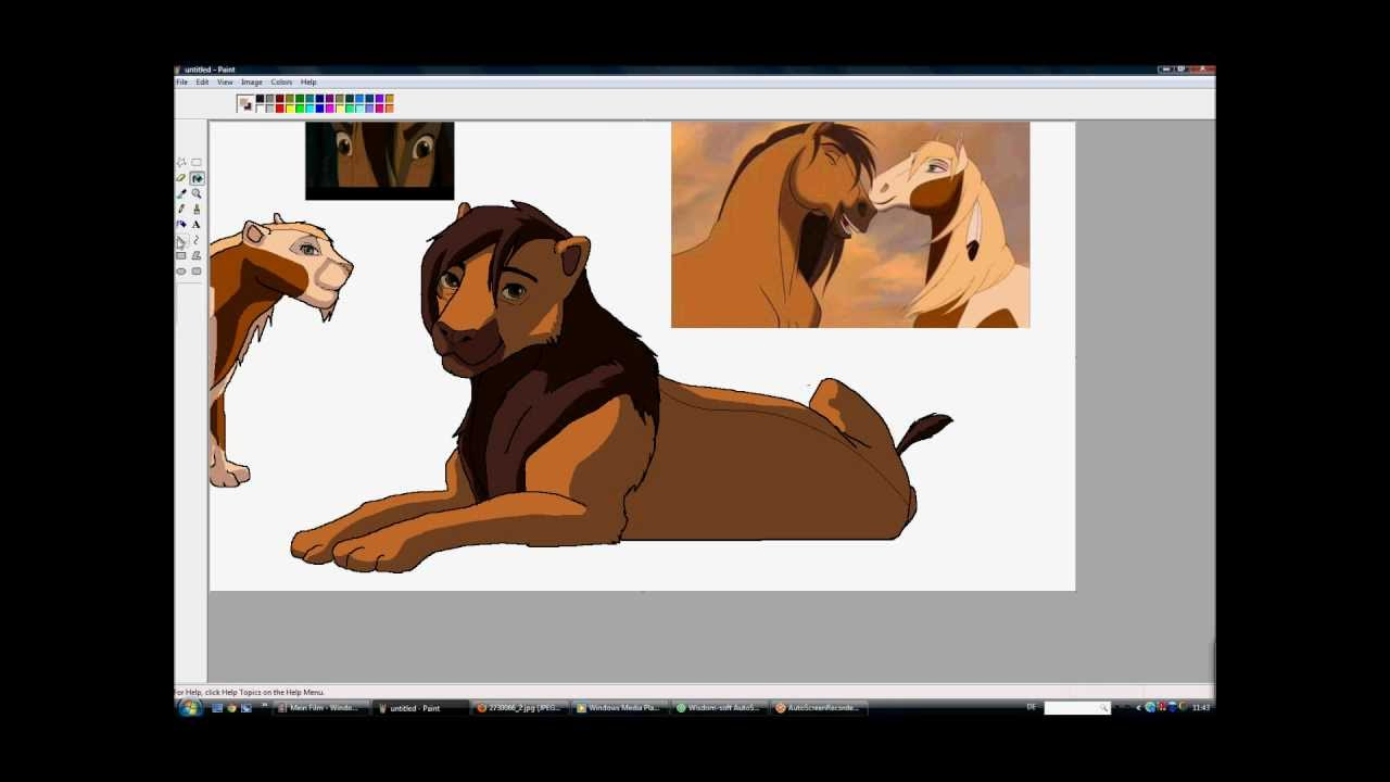 me drawingi- spirit and rain as lions on paint