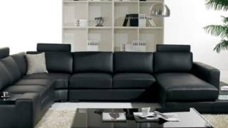 T35   Black Leather Sectional Sofa with Light