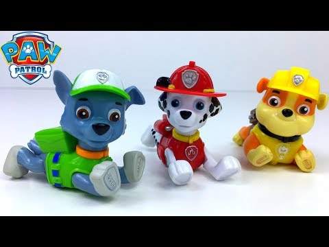 PAW PATROL - PULL BACK PUP GIFT SPIELSET MIT MARSHALL ROCKY UND RUBBLE SUPER WETTKAMPF UNBOXING