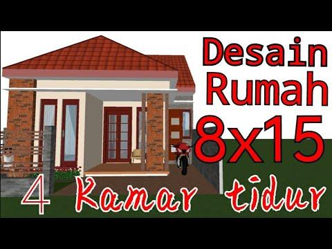 denah rumah 8x15 dengan 4 kamar tidur - sekitar rumah