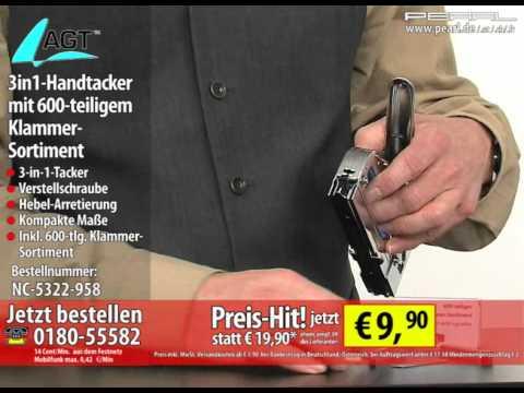 Berühmt AGT 3in1-Handtacker mit 600-teiligem Klammer-Sortiment - YouTube NH55