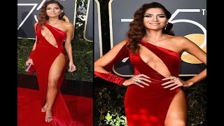 In Graphics: Blanca Blanco violates the Golden Globe's dress code and wears Red