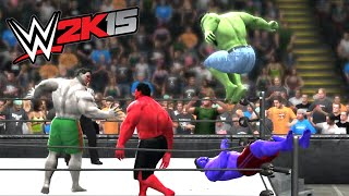 HULK & RED HULK VS BLUE HULK & GREY HULK - EXTREME RULES TORANDO TAG TEAM MATCH - WWE 2k15