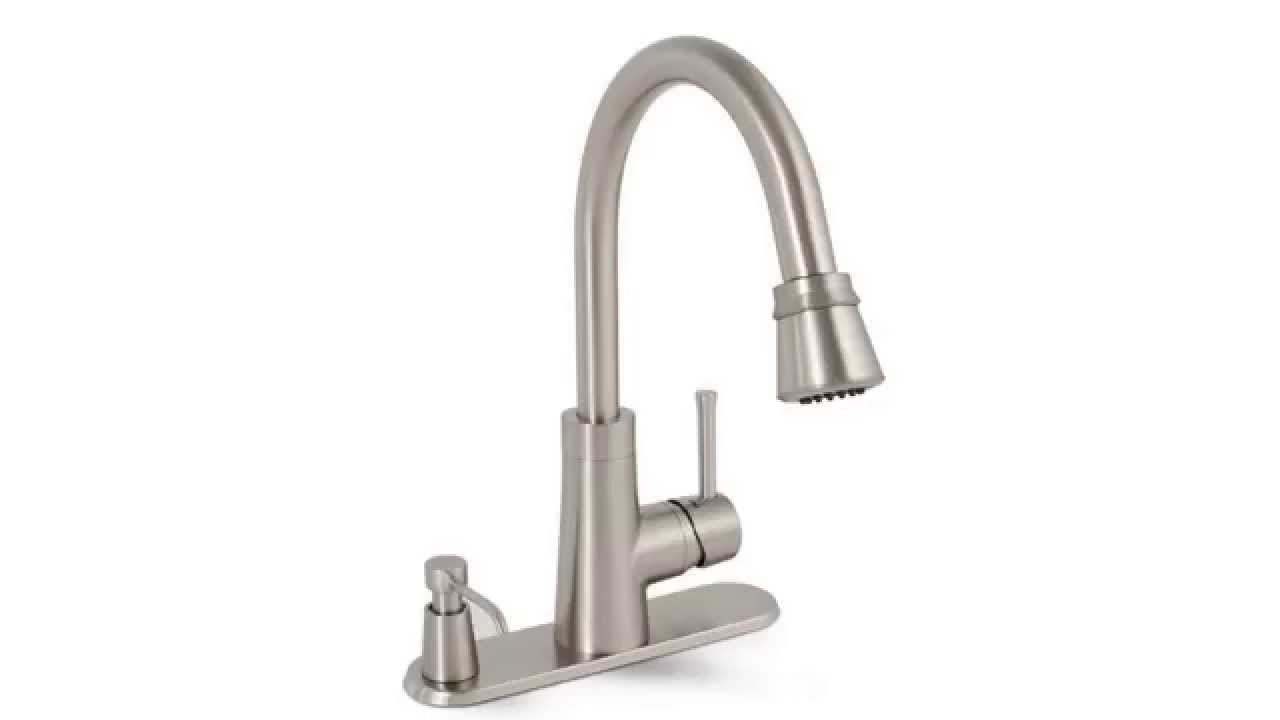 lakeview pulldown sprayer kitchen faucet in stainless with soap premier essen leadfree pulldown kitchen faucet with soap dispenser youtube