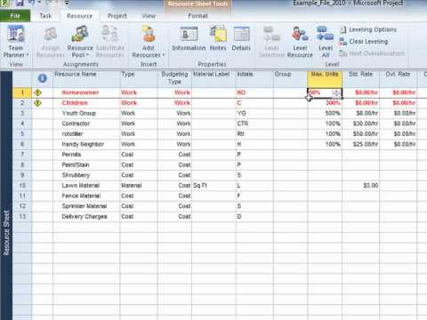 Defining Resources - MS Project 2010 Tutorial