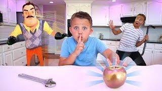 Hello Neighbor Kids Challenge!! Sneaking In the Neighbors House!