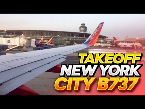 Early Morning Sunrise Takeoff From LaGuardia Airport (LGA)- Southwest Airlines (HD) (60FPS)