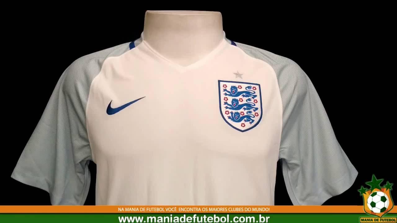 Camisa de Jogo Inglaterra Nike 2016 Branca - YouTube e3fe2a049756e