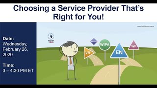 WISE Webinar 2020-02: Choosing a Service Provider That's Right For You