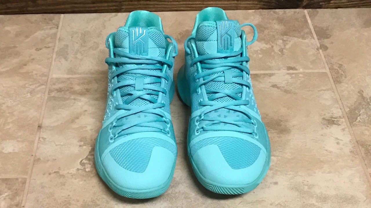 b119cd09f6e8 Kyrie 3 Aqua Detailed Look And On Foot - YouTube