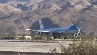President Obama and First Lady Aboard Air Force One, Arriving at Palm Springs International Airport