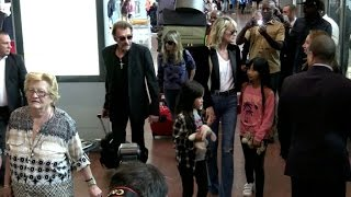 EXCLUSIVE: Johnny Hallyday, Laetitia, Jade and Joy arriving at Paris airport