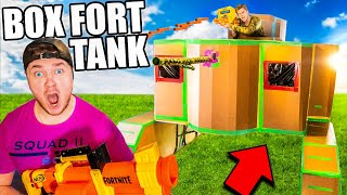 Worlds Biggest Box Fort TANK! Working Nerf Blasters & More
