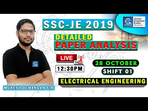 SSC-JE 2019 I Detailed Paper Analysis I Electrical Engineering  I Live 28 Oct. 12:30 PM