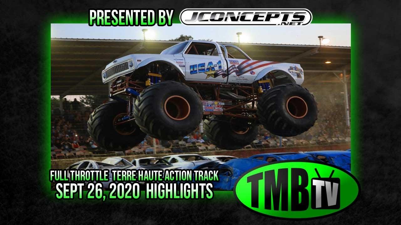 TMB TV Monster Trucks - Highlights - Terre Haute Action Track - Full Throttle Monster Trucks 2020