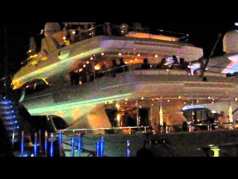 Party on a yacht in the harbor in Marina Ibiza, Ibiza, Spain