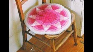 Яркие коврики сидушки на стул  Вязаные накидки на табурет