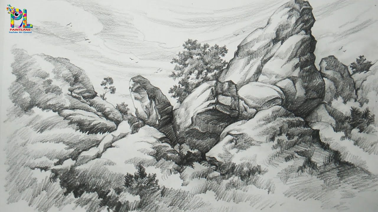 Basic pencil shading big rocks in a landscape with pencil pencil drawing step by step