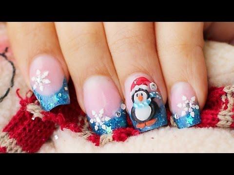 Como hacer Uñas pinguino en 3D relieve Navidad y glow in the dark glitter