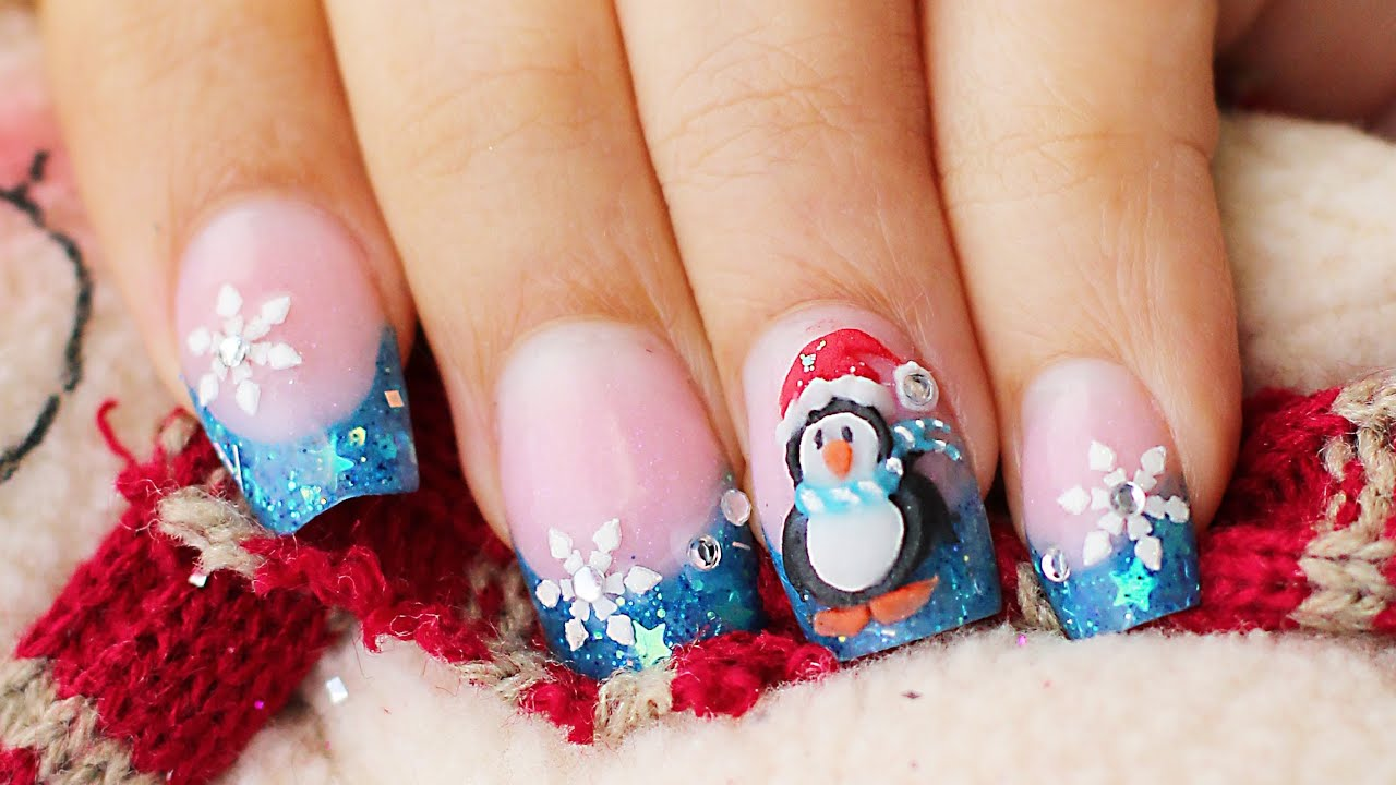 Como hacer Uñas pinguino en 3D relieve Navidad y glow in the dark glitter , YouTube