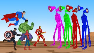 Team Hulk VS Color Team Siren Head [HD] | SUPER HEROES MOVIE ANIMATION