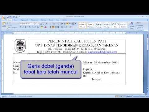 Tutorial Word Cara membuat garis dobel ganda tebal tipis pada word 2007 2010 2013