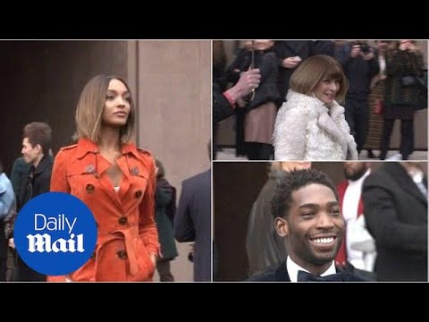 Jourdan, Anna and Tinie arrive at the Burberry LC:M show - Daily Mail