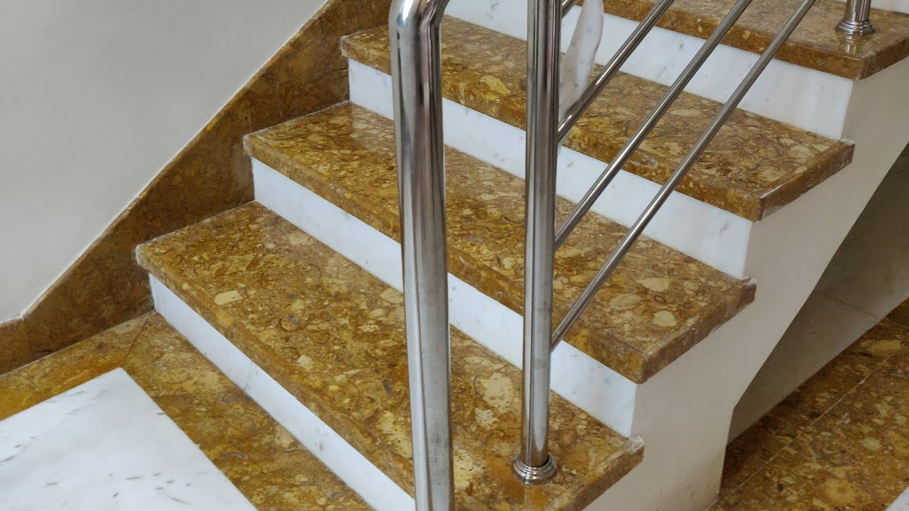 Indian marble Stairs with Staircase railing design and ...