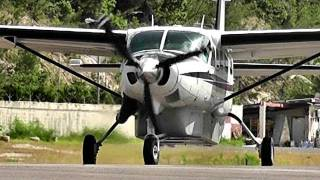 Cessna C208 Caravan at princess Juliana International Airport (HD1080p)