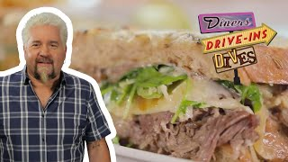 Guy Fieri Eats a Dynamite Short Rib Sandwich | Diners, Drive-Ins and Dives | Food Network