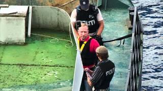 Norway 13 August 2011 - Anders Behring Breivik being taken back to Utøya