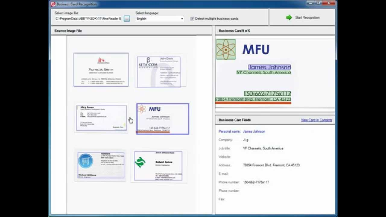 ABBYY FineReader Engine 11: Business Card Recognition ...