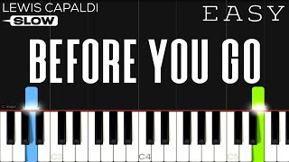 Lewis Capaldi - Before You Go   SLOW EASY Piano Tutorial