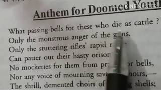 ''ANTHEM FOR DOOMED YOUTH'' BY WILFRED OWEN
