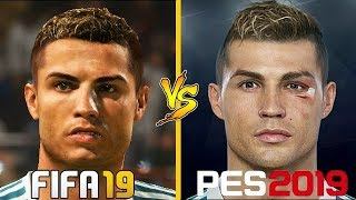 FIFA 19 VS PES 19 | New Face Concept Comparison | (Ronaldo, Pogba, Griezmann)