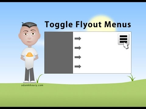 Control Panel Flyout Menu Windows JavaScript CSS Animations