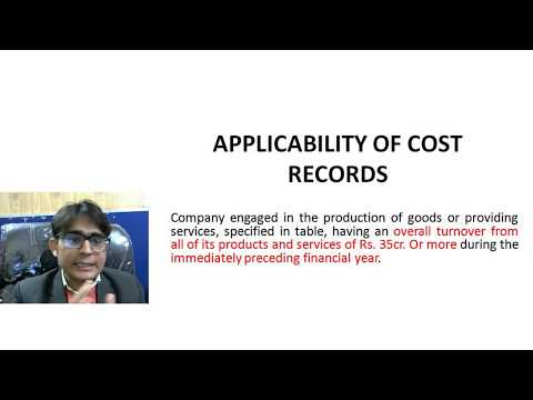 Applicability Of Cost Records